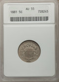 Shield Nickels: , 1881 5C AU55 ANACS. NGC Census: (4/90). PCGS Population (7/126).Mintage: 68,800. Numismedia Wsl. Price for problem free NG...