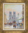 Ceramics & Porcelain, American:Modern  (1900 1949)  , LUCIANO RAMPASO (Italian, b. 1934). Notre Dame. Oil oncanvas. 24 x 20in.. Signed lower right. From the collection of...