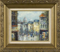 Prints:European Modern, UNKNOWN ARTIST. European Street Scene. Oil on canvas. 8 x10in.. Signed indecipherably lower left. From the collection...
