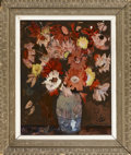 Fine Art - Painting, American:Contemporary   (1950 to present)  , UNKNOWN ARTIST. Floral Still Life. Oil on board. 20 x 16in..Signed unintelligibly lower right. From the collection of...