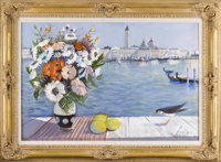 CHARLES LEVIER (French, 1920 - 2004) Fleur S Venise Oil on canvas 24 x 36in. Signed lower left  Provenance: Willia