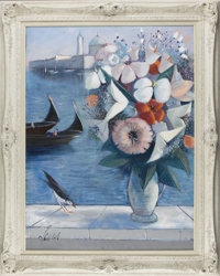 CHARLES LEVIER (French, 1920 - 2004) Fleurs Sur Venise Oil on canvas 30 x 40in. (sight size) Signed lower left  Fr