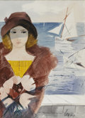 Paintings, CHARLES LEVIER (French, 1920 - 2004). Woman by the Sea. Watercolor on paper. 29 x 20in. (sight size). Signed lower right...
