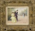 Fine Art - Painting, American:Contemporary   (1950 to present)  , UNKNOWN ARTIST. Two Women at the Park. Oil on canvas. 8 x10in.. Signed indecipherably lower right. From the collectio...