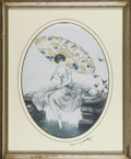 Prints:European Modern, LOUIS ICART. Parasol. Lithograph on paper. 24 x 22in..Signed to mat lower right. Stamped top right Copyright 1928 by...