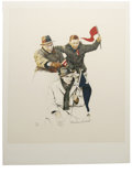 Prints:American, NORMAN PERCEVAL ROCKWELL (American 1894 - 1978). Cheering.Colored lithograph. 26 x 20in.. Edition: 134/200. Signed lowe...