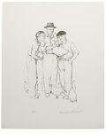 Prints:American, NORMAN PERCEVAL ROCKWELL (American, 1894 - 1978). ThreeFarmers. Lithograph. 26 x 20in.. Edition: AP. Signed lowerright...