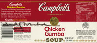 ANDY WARHOL (American, 1928 - 1987) An autographed original Campbell's 'Chicken Gumbo' soup can label 3 1/2 x 8 1/4in...