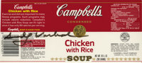 ANDY WARHOL (American, 1928 - 1987) An autographed original Campbell's 'Chicken with Rice' soup can label 3 1/2 x 8 1/4i...