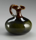 Ceramics & Porcelain, American:Modern  (1900 1949)  , AN AMERICAN POTTERY VASE. Hampshire Pottery, early 20th century.The ewer form with applied handle and shaped spout, in br...