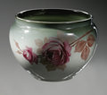 Ceramics & Porcelain, American:Modern  (1900 1949)  , AN AMERICAN POTTERY VASE. Weller, 1898-1918. The Eocean Rosepattern, decorated with pink roses on the green glazed gr...