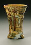 Ceramics & Porcelain, American:Modern  (1900 1949)  , AN AMERICAN POTTERY VASE. Weller, c. 1915-1928. The Forestpattern, molded in hight to low relief with a forest scene ...