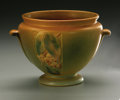 Ceramics & Porcelain, American:Modern  (1900 1949)  , AN AMERICAN POTTERY VASE. Weller, early 20th century. TheVelva pattern, tapered form on circular foot, with appliedh...