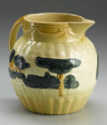 Ceramics & Porcelain, American:Modern  (1900 1949)  , AN AMERICAN POTTERY PITCHER. Roseville, before 1916. TheLandscape pattern pitcher with baluster form with appliedhan...