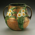 Ceramics & Porcelain, American:Modern  (1900 1949), AN AMERICAN POTTERY VASE. Roseville, 1931. The Jonquilpattern bulbous tapering cylindrical body with attached handles...