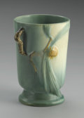 Ceramics & Porcelain, American:Modern  (1900 1949)  , AN AMERICAN POTTERY VASE. Roseville, c. 1935. The Pineconepattern footed tapering cylindrical two-handled vase in gre...