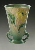 Ceramics & Porcelain, American:Modern  (1900 1949)  , AN AMERICAN POTTERY VASE. Roseville, c.1930. Of Poppypattern, the tapering cylindrical shape with attached scrolled h...