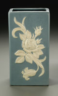 Ceramics & Porcelain, American:Modern  (1900 1949)  , AN AMERICAN POTTERY VASE. Weller, early 20th century. TheCameo pattern to squared form molded with a floral spraygla...