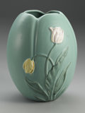Ceramics & Porcelain, American:Modern  (1900 1949)  , A LARGE AMERICAN POTTERY VASE. Weller, early 20th century. Theovoid form molded with tulips in pink and yellow on a pale ...