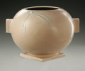 Ceramics & Porcelain, American:Modern  (1900 1949)  , AN AMERICAN POTTERY VASE. Roseville, 1937. The Dawn patternwith spherical body, handles on suqare base with embossed ...