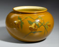 Ceramics & Porcelain, American:Modern  (1900 1949)  , AN AMERICAN POTTERY VASE. Weller, Dickensware. The bulbous formdecorated with floral design in an orange glaze, impressed...