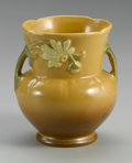 Ceramics & Porcelain, American:Modern  (1900 1949)  , AN AMERICAN POTTERY VASE. Weller, c. 1930-1940. With bulbous baseand flared neck, with applied handles, molded with a dai...