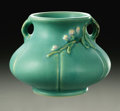Ceramics & Porcelain, American:Modern  (1900 1949)  , AN AMERICAN POTTERY VASE. Weller, c. 1939. The Bouquetpattern with wide body and tapering neck, with applied handles ...