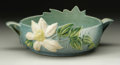 Ceramics & Porcelain, American:Modern  (1900 1949)  , AN AMERICAN POTTERY BOWL. Roseville, c. 1940. The Clematispattern with shallow bowl with handles and molded cream flo...