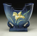 Ceramics & Porcelain, American:Modern  (1900 1949)  , AN AMERICAN POTTERY VASE. Roseville, c. 1940. The ZephyrLily pattern, V-shaped body with stepped rim and curvedhandl...