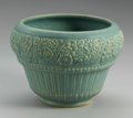 Ceramics & Porcelain, AN AMERICAN POTTERY VASE. Maker unknown, c. 1940-1950. The matte green glaze on a buff body impressed with floral decorati...