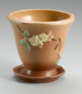 Ceramics & Porcelain, American:Modern  (1900 1949)  , AN AMERICAN POTTERY PLANTER. Roseville, 1948. Comprising of aplanter and underplate, in Apple Blossom pattern, molded...(Total: 2 Items)