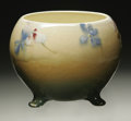 Ceramics & Porcelain, American:Modern  (1900 1949)  , AN AMERICAN POTTERY VASE. Roseville. The Rozane Royal Lights pattern vase wiht spherical body on three feet with under...