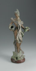 Bronze:European, PAR NANTEUIL. Arum. Painted bronze mounted on marble. 19 x 8 x 4 1/2in.. Signed at base P. Nanteuil. From the coll...