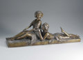 Bronze:Contemporary, UNKNOWN ARTIST. Reclining Girls. Bronze. 12 1/2 x 3061/2in.. Unsigned. From the collection of Richard and Rita Chouin...
