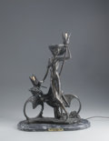 Sculpture, AFTER LOUIS ICART. Bicycle Spring Time. Bronze lamp mounted on marble base. 22 x 17 x 9in.. Signed at base Icart, an...
