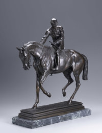 AFTER ISIDORE JULES BONHEUR Lord Lyon - The Derby 1866 Bronze on marble base 24 1/2 x 22 1/2 x 7in. Signed to base &...