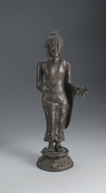Bronze:Contemporary, UNKNOWN ARTIST. Hindu God. Bronze. 21 1/2 x 7 1/2 x 5in..Unsigned. From the collection of Richard and Rita Chouinard...