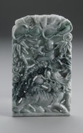 Asian:Chinese, CHINESE CARVED JADE PLAQUE. Chinese carved jade/hardstone plaque,depicting a qilin looking at a boy in a tree surrounded ...