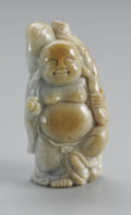 Asian:Chinese, CHINESE CARVED HARDSTONE OF STANDING BUDAI. Chinese carvedhardstone standing Budai, holding an orb and staff with a bag t...