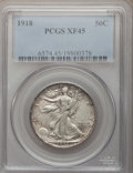 Walking Liberty Half Dollars: , 1918 50C XF45 PCGS. PCGS Population (43/770). NGC Census: (23/642).Mintage: 6,634,000. Numismedia Wsl. Price for problem f...