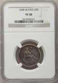 Seated Quarters: , 1838 25C No Drapery VF30 NGC. NGC Census: (3/149). PCGS Population(5/175). Mintage: 466,000. Numismedia Wsl. Price for pro...