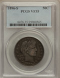 Barber Half Dollars: , 1896-S 50C VF35 PCGS. PCGS Population (18/96). NGC Census: (1/54).Mintage: 1,140,948. Numismedia Wsl. Price for problem fr...