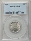 Liberty Nickels: , 1891 5C MS64 PCGS. PCGS Population (182/91). NGC Census: (142/79).Mintage: 16,834,350. Numismedia Wsl. Price for problem f...