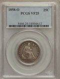 Seated Quarters: , 1858-O 25C VF25 PCGS. PCGS Population (3/54). NGC Census: (0/35).Mintage: 520,000. Numismedia Wsl. Price for problem free ...
