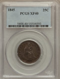 Seated Quarters: , 1845 25C XF40 PCGS. PCGS Population (7/85). NGC Census: (2/94).Mintage: 922,000. Numismedia Wsl. Price for problem free NG...