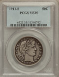 Barber Half Dollars: , 1911-S 50C VF35 PCGS. PCGS Population (12/92). NGC Census: (1/50).Mintage: 1,272,000. Numismedia Wsl. Price for problem fr...