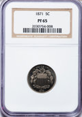 Proof Shield Nickels: , 1871 5C PR65 NGC. NGC Census: (82/27). PCGS Population (92/28).Mintage: 960. Numismedia Wsl. Price for problem free NGC/PC...