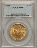 Indian Eagles: , 1909 $10 MS62 PCGS. PCGS Population (561/301). NGC Census:(517/207). Mintage: 184,700. Numismedia Wsl. Price for problem f...