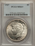 Peace Dollars: , 1927 $1 MS64+ PCGS. PCGS Population (1628/276). NGC Census:(941/115). Mintage: 848,000. Numismedia Wsl. Price for problem ...