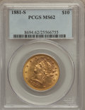 Liberty Eagles: , 1881-S $10 MS62 PCGS. PCGS Population (323/39). NGC Census:(525/37). Mintage: 970,000. Numismedia Wsl. Price for problem f...